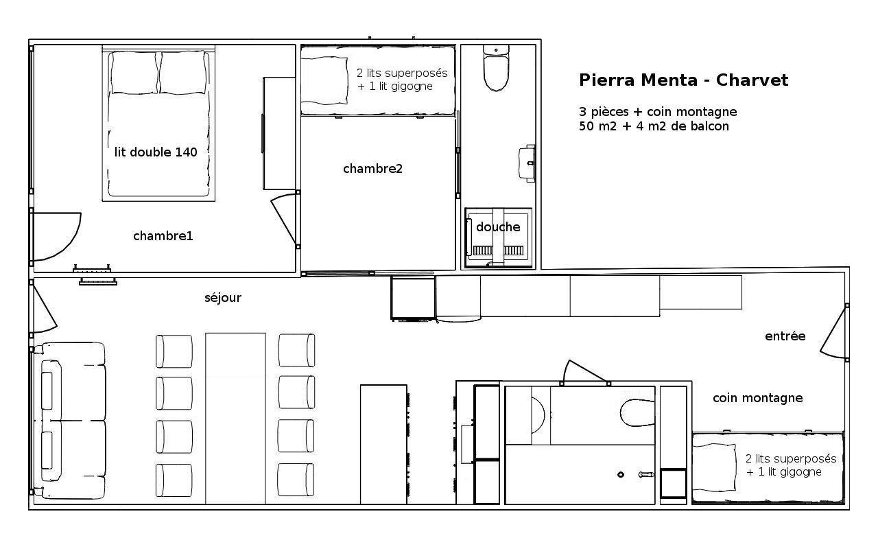 Location d 39 un appartement de particulier les arcs 1800 for Plan cuisine 2d